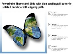 Powerpoint Theme And Slide With Blue Swallowtail Butterfly Isolated On White With Clipping Path