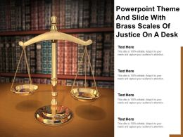 Powerpoint Theme And Slide With Brass Scales Of Justice On A Desk