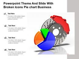 Powerpoint Theme And Slide With Broken Icons Pie Chart Business