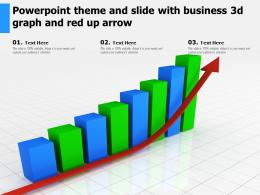 Powerpoint Theme And Slide With Business 3d Graph And Red Up Arrow