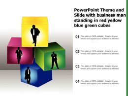 Powerpoint Theme And Slide With Business Man Standing In Red Yellow Blue Green Cubes