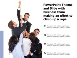 Powerpoint Theme And Slide With Business Team Making An Effort To Climb Up A Rope