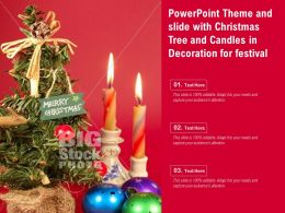 Powerpoint Theme And Slide With Christmas Tree And Candles In Decoration For Festival
