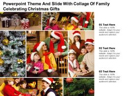 Powerpoint Theme And Slide With Collage Of Family Celebrating Christmas Gifts