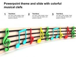 Powerpoint Theme And Slide With Colorful Musical Clefs