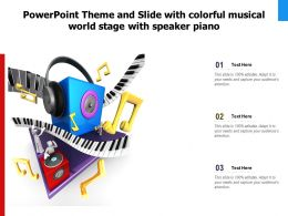 Powerpoint Theme And Slide With Colorful Musical World Stage With Speaker Piano