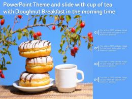 Powerpoint Theme And Slide With Cup Of Tea With Doughnut Breakfast In The Morning Time