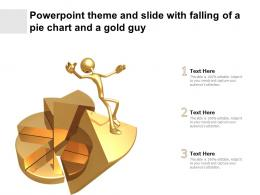 Powerpoint Theme And Slide With Falling Of A Pie Chart And A Gold Guy