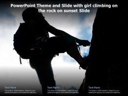Powerpoint Theme And Slide With Girl Climbing On The Rock On Sunset Slide
