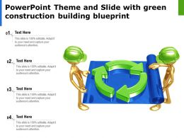 Powerpoint Theme And Slide With Green Construction Building Blueprint