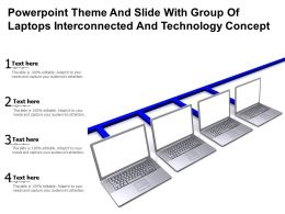 Powerpoint Theme And Slide With Group Of Laptops Interconnected And Technology Concept