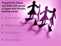 Powerpoint Theme And Slide With Group Of Paper Doll Females Holding Hands