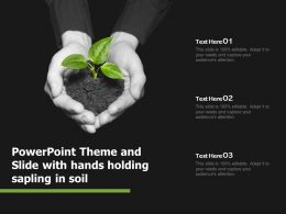 Powerpoint Theme And Slide With Hands Holding Sapling In Soil