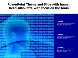 Powerpoint Theme And Slide With Human Head Silhouette With Focus On The Brain