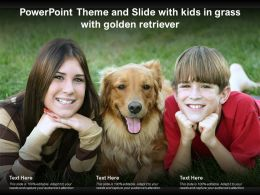 Powerpoint Theme And Slide With Kids In Grass With Golden Retriever