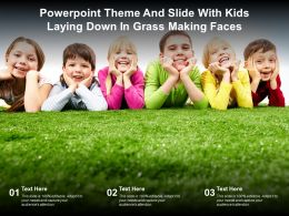 Powerpoint Theme And Slide With Kids Laying Down In Grass Making Faces
