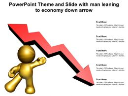 Powerpoint Theme And Slide With Man Leaning To Economy Down Arrow