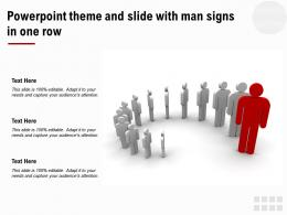 Powerpoint Theme And Slide With Man Signs In One Row