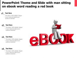 Powerpoint Theme And Slide With Man Sitting On Ebook Word Reading A Red Book