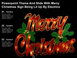 Powerpoint Theme And Slide With Merry Christmas Sign Being Lit Up By Electrics