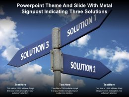 Powerpoint Theme And Slide With Metal Signpost Indicating Three Solutions