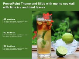 Powerpoint Theme And Slide With Mojito Cocktail With Lime Ice And Mint Leaves