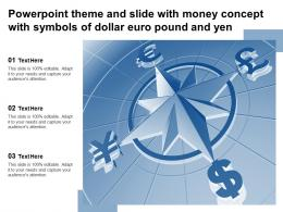Powerpoint Theme And Slide With Money Concept With Symbols Of Dollar Euro Pound And Yen