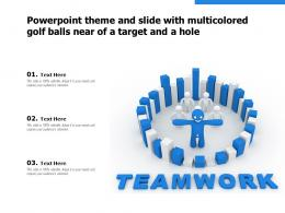 Powerpoint Theme And Slide With Multicolored Golf Balls Near Of A Target And A Hole