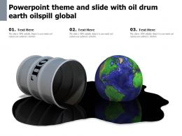 Powerpoint Theme And Slide With Oil Drum Earth Oilspill Global