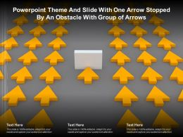 Powerpoint Theme And Slide With One Arrow Stopped By An Obstacle With Group Of Arrows