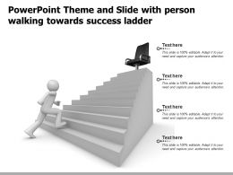 Powerpoint Theme And Slide With Person Walking Towards Success Ladder