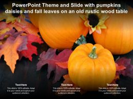 Powerpoint Theme And Slide With Pumpkins Daisies And Fall Leaves On An Old Rustic Wood Table