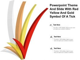 Powerpoint Theme And Slide With Red Yellow And Gold Symbol Of A Tick