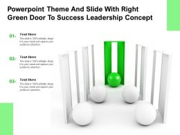 Powerpoint Theme And Slide With Right Green Door To Success Leadership Concept