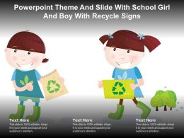 Powerpoint Theme And Slide With School Girl And Boy With Recycle Signs
