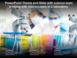 Powerpoint Theme And Slide With Science Team Working With Microscopes In A Laboratory