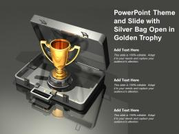 Powerpoint Theme And Slide With Silver Bag Open In Golden Trophy