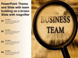 Powerpoint Theme And Slide With Team Building On A Brown Slide With Magnifier