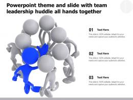 Powerpoint Theme And Slide With Team Leadership Huddle All Hands Together