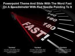 Powerpoint Theme And Slide With The Word Fast On A Speedometer With Red Needle Pointing To It