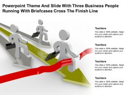 Powerpoint Theme And Slide With Three Business People Running With Briefcases Cross The Finish Line