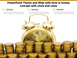 Powerpoint Theme And Slide With Time Is Money Concept With Clock And Coins