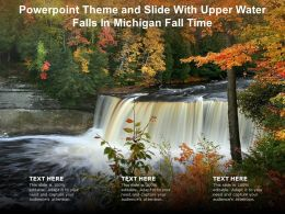 Powerpoint Theme And Slide With Upper Water Falls In Michigan Fall Time