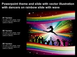 Powerpoint Theme And Slide With Vector Illustration With Dancers On Rainbow Slide With Wave