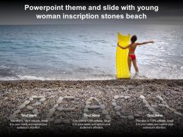 Powerpoint Theme And Slide With Young Woman Inscription Stones Beach
