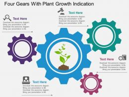 Pp Four Gears With Plant Growth Indication Flat Powerpoint Design