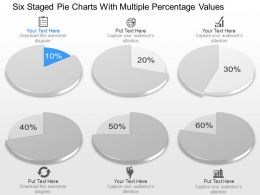 pp Six Staged Pie Charts With Multiple Percentage Values Powerpoint Template