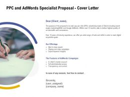 PPC And Adwords Specialist Proposal Cover Letter Ppt Powerpoint Presentation Layouts