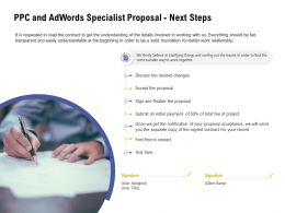PPC And Adwords Specialist Proposal Next Steps Ppt Powerpoint Presentation Model