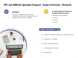 PPC And Adwords Specialist Proposal Scope Of Services Research Ppt Powerpoint Infographic